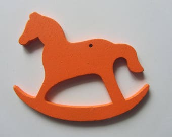 Orange - pendant - pendant - colored wooden rocking horse - 8 cm x 6 cm