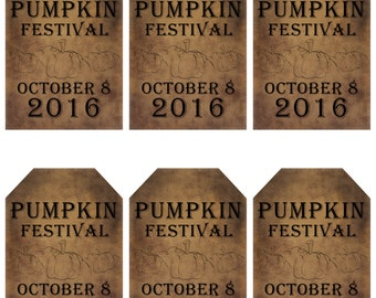 grungy tag set, primitive tags, craft supplies, scrapbooking  - Pumpkin Festival with date at bottom - digital PDF & jpeg - CFGT01