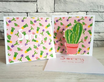 Funny Sorry Card, Cactus Card, Sorry for Being Prickly, Apology Card, Make Up Card, Forgive Me Card