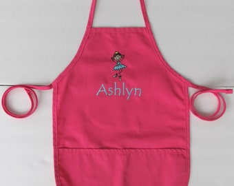 Personalized Kids Apron - Monogrammed Childs Apron - Ballerina Dancer