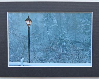 Matted 4x6 Welcome to Narnia Christmas Holiday Decor Winter Snow Photo, Signed Artwork, Home Decor Wall Art Print Narnia Chronicles Lamppost