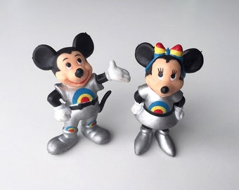 Vintage Disney Toy Mickey and Minnie Mouse PVC Figures, Epcot Center