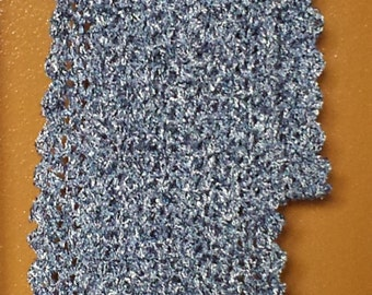 Hand Crocheted Scarf, Denim Waters, Ready To Ship Free US Ship