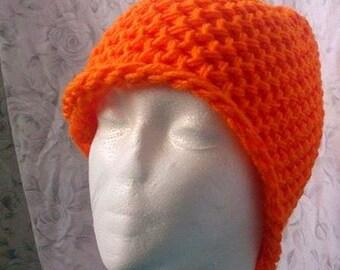 Bright Orange Knit Crochet Beanie Hat