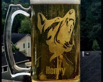 German Shepherd Beer Stein - customization available! Beer mug, glass - FREE SHIPPING!