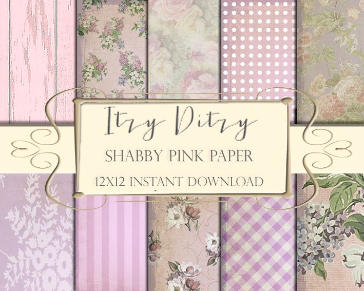 Shabby Papers Pink Floral Digital Paper Chic Flower