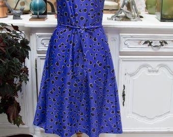 Vintage 1070's Purple Blue Sleeveless Summer Dress