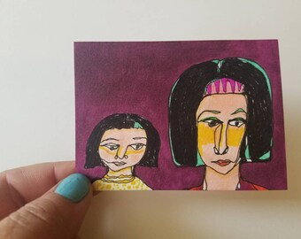 Mothers Day Portrait - original ACEO drawing