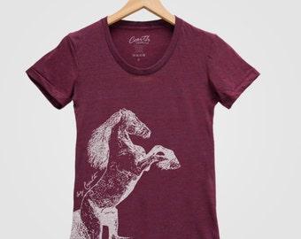 HORSE Shirt Custom Hand Screen Print Tri-Blend Short Sleeve Available: S , M , L , XL