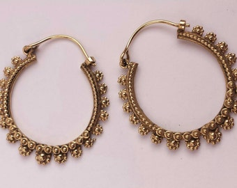 Antique Look Handcrafted Brass Flower Hoop Earrings - Gypsy Hoops ,Boho Hoops ,Ethnic,Tribal Hoops EB1