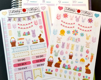 Easter Set, Pastel Colors, Stickers, Fits Erin Condren and others, Planner Stickers, Calendar Stickers, Life Planner Stickers