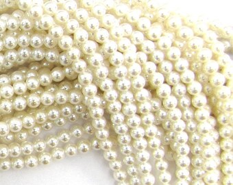 """3.5mm white shell pearl round beads 16"""" strand 11497"""