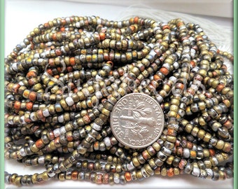 Etched Seed Beads California Gold Rush Mix - Czech Glass Seed Beads 8/0 - 20 inch Strand - Copper Seed Beads CZBB6