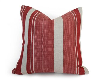 Farmhouse Pillows, French Country Pillow, Striped Pillow Cover, Farmhouse Cushion, Striped Throw Pillow, Rustic Red Pillows, 12x18, 18, 20