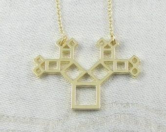 1, Pythagoras Theorem, Mathematics, Math Charm, Geometry, Geometry Charm, Pythagoras Pendant, Geometric, Geometry Pendant, NEC035-GL