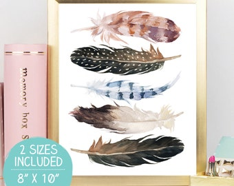 Watercolor Feathers, Feathers Print, Tribal Wall Art, Feathers Printable, Tribal Wall Decor, Tribal Nursery Art, Feather Wall Art, Baby Gift