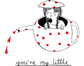 Nursery art print: My Little Teapot. Small cute kids illustration print - thoughtful gift for kids room wall art, nursery, or baby shower.