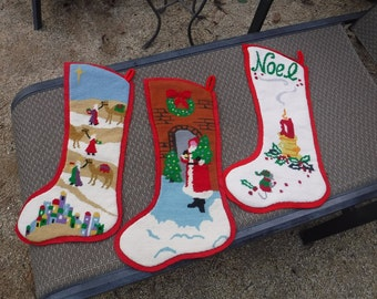 Embroidered Christmas stockings lot of three