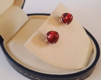 Sterling Earrings ~ Silver and Red Mid Century Czech Glass Bullet Cabochon Stud Earrings