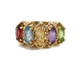 Multi-Gemstone Ring, 10K Gold Amethyst, Citrine, Garnet, Peridot, Topaz 1.50ctw, Vintage Ring