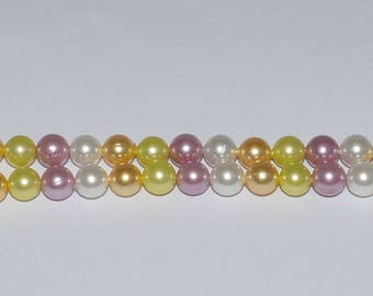 10 beads 6mm Pearl green, white, dusty pink, gold - Ref: PN 591