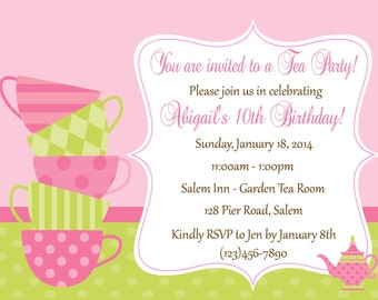 Tea Party Birthday Invitation ( Digital File ) - Tea Birthday Invitation ( Printable File) - Tea Party Invitation