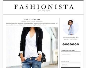 "Wordpress Theme Responsive Blog Theme Design ""Fashionista"" - Minimalist, Clean and Simple"