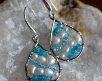 Teardrop Hoop Earrings, Pearl, Apatite, Blue Topaz Mosaic Earrings, Boho Style Earrings, Statement Earrings, Gemstone Earrings