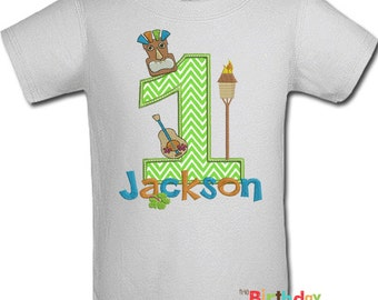 Tiki Birthday Party Shirt or bodysuit- Any Age and color scheme (10092)