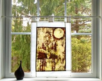 Foggy Forest ~ Bleached Art Stained Glass Look Pojagi Batik Window Treatment  / bohemian cafe curtain / dorm / boudoir / hippie curtain