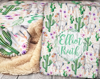 Personalized Llama Cactus Blanket - Sherpa Throw Blanket -  Cactus Blanket - Llama Baby Blanket - Personalized Sherpa Blanket