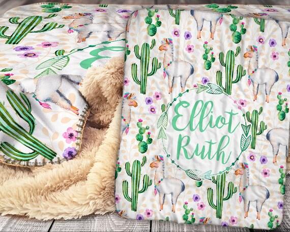 Personalisierte Lama Kaktus Decke Sherpa Decke
