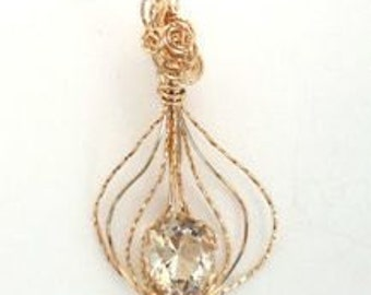 4. 1 ct Light Brown Topaz AAA in gold filled wire