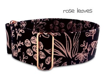"black dog collar, rose gold, girl dog collar, roses floral collar, red gold hardware, custom, martingale, buckle collar; 1""- 2"", rose leaves"