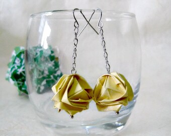 Origami Earrings - Paper Earrings - 1st anniversary gift - Paper Jewelry - Origami Jewelry - Paper Anniversary - Japanese Brocade