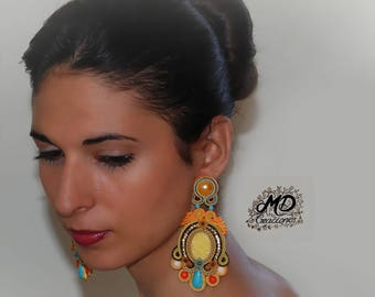 Pending soutache pending, pending wedding, pending graduation, long earrings, flamenco, jewellery, exclusive
