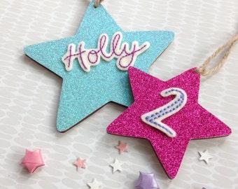 Birthday wooden stars- set of 2 stars, birthday number, personalised decoration, wooden star, birthday keepsake