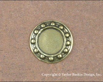 Beaded Circle Bezel in Antiqued Polished Brass (item 313 AG) - 6 Pieces