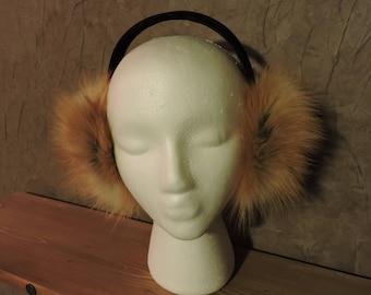 Red Fox Earmuff - Real Fox Fur Earmuff - Authentic Fur - Fuzzy Earwarmer - AK Creations Designs - Red Fox Fur - Real Fur - Fashion Earmuff