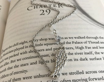 A Court of Frost and Starlight Necklace, Illyrian Wingspan Necklace, Night Court Necklace, Feysand Necklace, Bookish Necklace, Book Lover