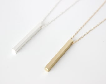 Stick Necklace / Vertical Bar necklace / Long Layering Necklace / Gold stick necklace / Silver stick necklace