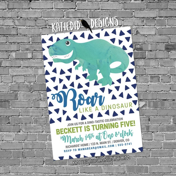 Dinosaur birthday invitation confetti boy baby shower couples coed baptism 1st first T rex geometric roar Dino twins | 2001 Katiedid Designs