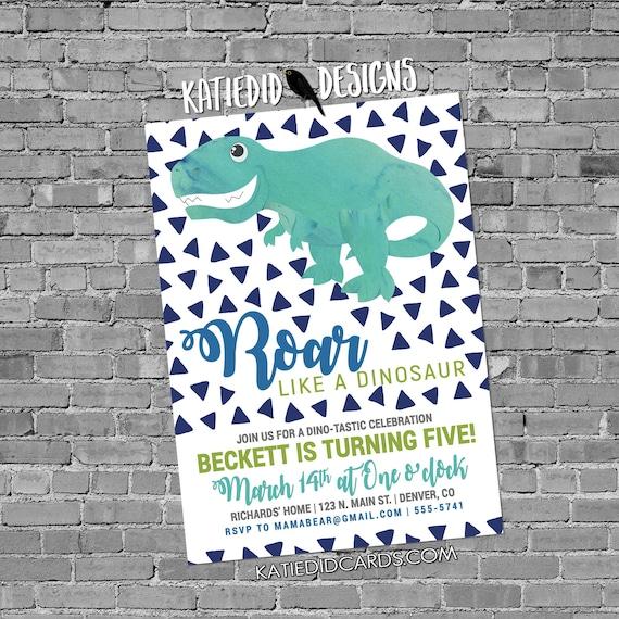 little boy 1st birthday dinosaur dino roar coed party invite brother sister twins shower diaper wipe Triangle confetti 2001 Katiedid Designs