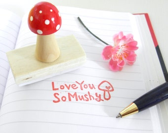Love You So Mushy - Hand carved rubber stamp