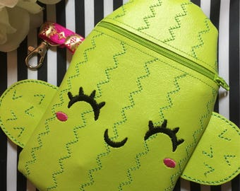 Cactus zipper pouch, cosmetic bag, zipper pouch, LipSense holder, lipstick cade, cactus phone case, cactus bag