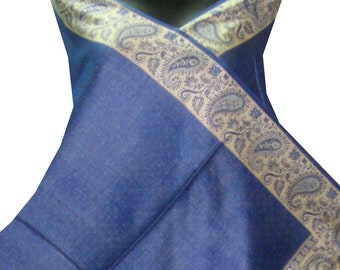 Exotic Indian fashionable reversible Blue paisley Kashmir's embroider silky wool scarf stole shawl wrap throw 80""