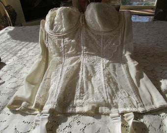 Reduced Price - Vintage Corset With Garters - Free Shipping
