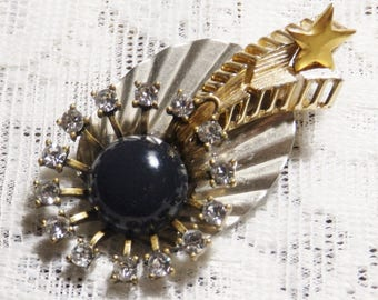 Shooting Star, falling star brooch, recycled vintage jewelry, star jewelry, celestial jewelry, vintage brooch, one-of-a-kind