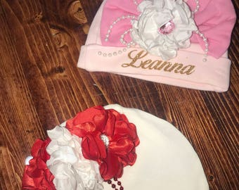newborn personalized name hat with flowers
