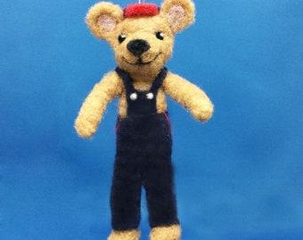 Felted Teddy Bear, Bear, Teddy, Teddy Bear Ornament, Teddy Bear Collectors, Bear with Overalls, Farmer Bear, Ready to Ship